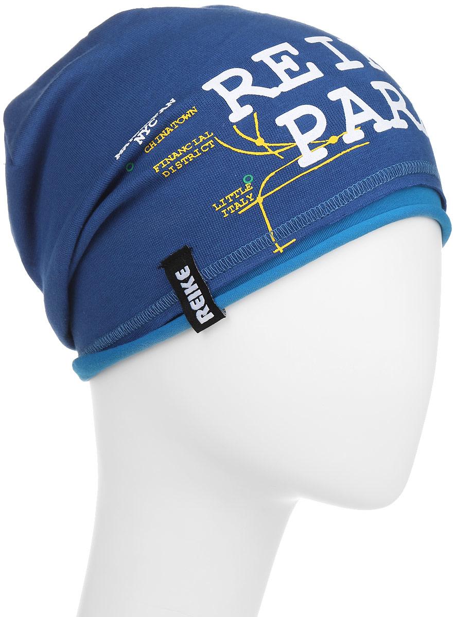 Шапка детскаяRKNSS17-SUB1_blueСтильная шапка для мальчика Reike Метро, изготовленная из качественного хлопкового материала, отлично впишется в гардероб ребенка. Модель с контрастным подкладом оформлена принтом в стиле серии. Уважаемые клиенты! Размер, доступный для заказа, является обхватом головы.