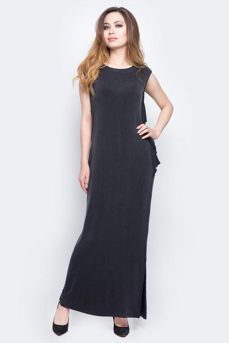 Платье Diesel, цвет: черный. 00SVV7-0JANG/900. Размер S (42)00SVV7-0JANG/900Платье Diesel длины макси изготовлено из купро с добавлением вискозы и эластана. Модель без рукавов с круглым вырезом горловины. Платье дополнено рюшами и вырезами по бокам, имеет свободный крой.