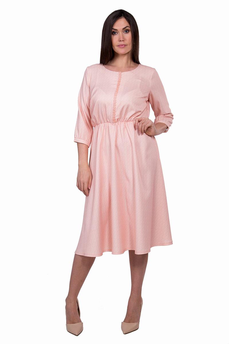 Платье Pavlotti, цвет: розовый. П19-122. Размер 48П19-122Платье Pavlotti выполнено из полиэстера с добавлением лайкры. Модель с круглым вырезом горловины и рукавами 3/4 создаст идеальный силуэт. Идеальную посадку обеспечивает резинка на талии.