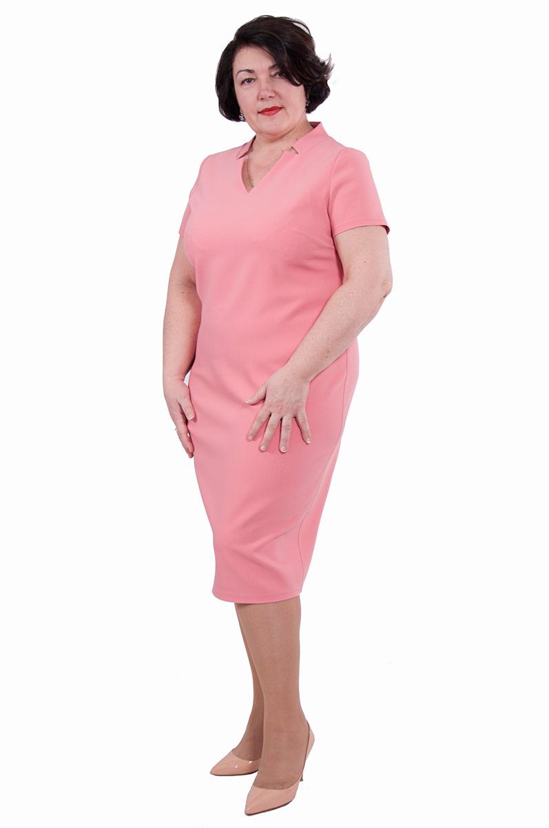 Платье Pavlotti, цвет: розовый. П19-192. Размер 54П19-192Лаконичное платье Pavlotti выполнено из полиэстера с добавлением вискозы и лайкры. Модель длиной до колен имеет V-образный вырез горловины и короткие рукава. В области груди предусмотрены вытачки для оптимальной посадки по фигуре. Сзади имеется разрез.
