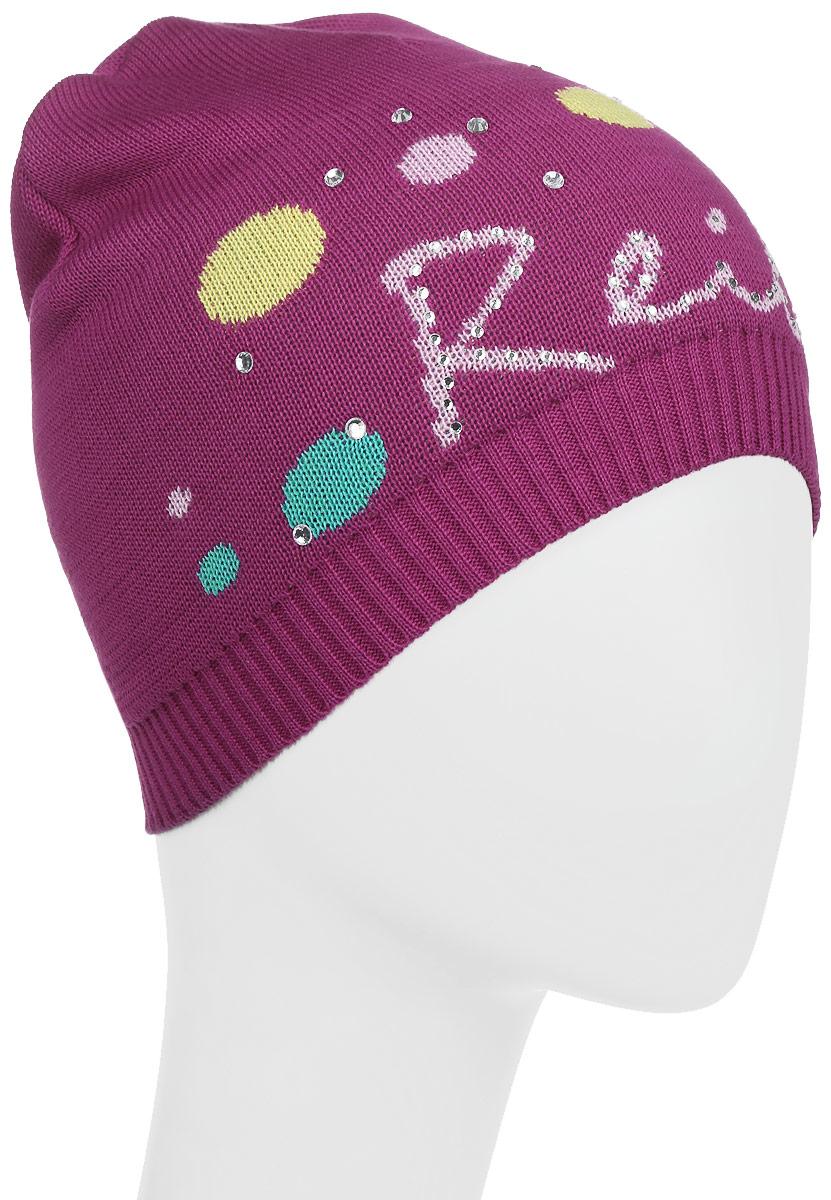 Шапка детскаяRKNSS17-CRN1-YN_fuchsiaСтильная шапка для девочки Reike Принцесса, изготовленная из натурального хлопка, отлично впишется в гардероб юной модницы. Модель двойной вязки оформлена резинкой и декорирована ярким принтом со стразами в стиле серии. Уважаемые клиенты! Размер, доступный для заказа, является обхватом головы.