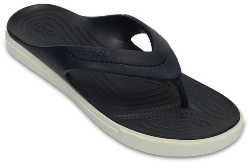 Сланцы Crocs CitiLane Flip, цвет: темно-синий. 202831-462. Размер 11 (43/44 )202831-462Стильные сланцы от Crocs придутся вам по душе. Рифление на верхней поверхности подошвы предотвращает выскальзывание ноги. Рельефное основание подошвы обеспечивает уверенное сцепление с любой поверхностью. Удобные сланцы прекрасно подойдут для похода в бассейн или на пляж.