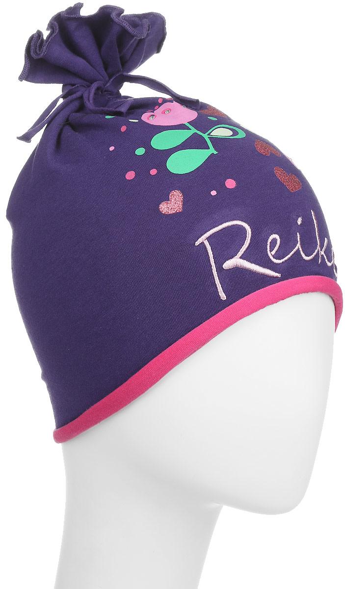 Шапка детскаяRKNSS17-TLP2_bordeauxОригинальная шапка для девочки Reike Тюльпан, изготовленная из качественного хлопкового материала и дополненная воланом на макушке, отлично впишется в гардероб юной модницы. Модель с контрастным подкладом оформлена цветочным принтом со стразами и блестками в стиле серии и вышивкой с названием бренда. Уважаемые клиенты! Размер, доступный для заказа, является обхватом головы.