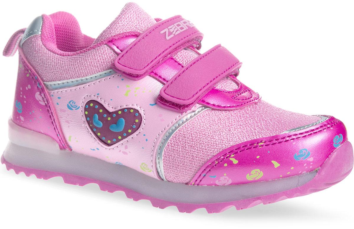 Кроссовки для девочки Зебра, цвет: розовый. 11566-9. Размер 2811566-9Стильные кроссовки от Зебра выполнены из текстиля со вставками из искусственной кожи. Застежки-липучки обеспечивают надежную фиксацию обуви на ноге ребенка. Подкладка выполнена из текстиля, что предотвращает натирание и гарантирует уют. Стелька с поверхностью из натуральной кожи оснащена небольшим супинатором, который обеспечивает правильное положение ноги ребенка при ходьбе и предотвращает плоскостопие. Подошва с рифлением обеспечивает идеальное сцепление с любыми поверхностями.