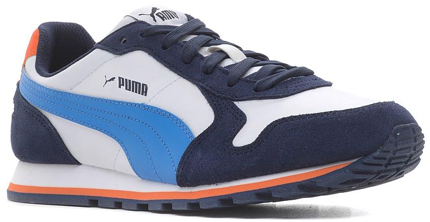 Кроссовки детские Puma, цвет: белый, темно-синий. 35908711. Размер 5 (37)35908711Разработанные в лучших традициях Puma, кроссовки серии ST Runner - идеальный вариант для прогулок и активного отдыха. Верхняя часть обуви из натуральной кожи с мягкими замшевыми вставками и накладками обеспечивает комфорт и прекрасную посадку по ноге. Рельефная поверхность подошвы гарантируют отличное сцепление на любых поверхностях. Традиционная шнуровка вместе с мягким язычком обеспечивает надежную фиксацию ноги. В таких кроссовках вашим ногам будет комфортно и уютно. Модель ST Runner L - это неповторимый дизайн, новое прочтение классической традиции и прекрасное дополнение к стильному повседневному гардеробу.
