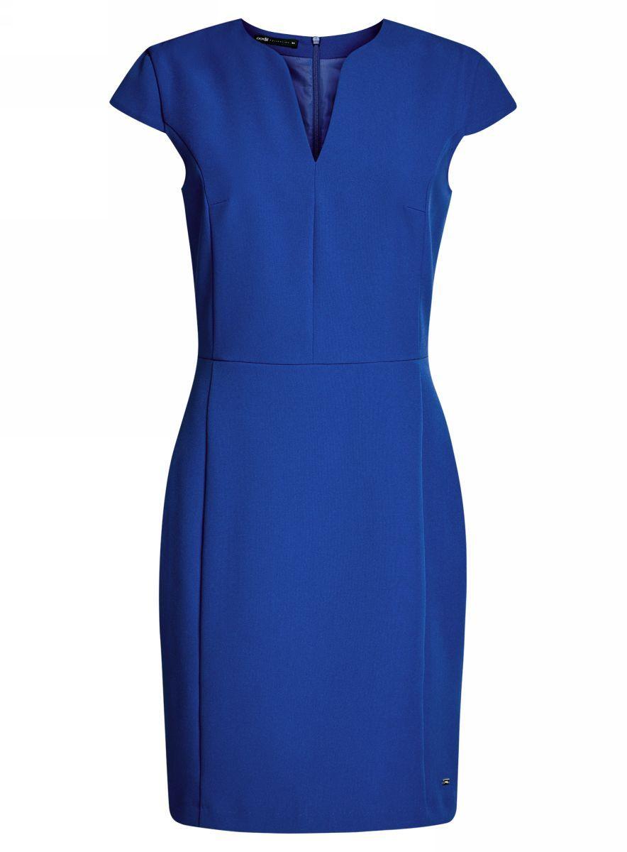 Платье oodji Collection, цвет: синий. 21902060-4/14917/7500N. Размер 36-170 (42-170)21902060-4/14917/7500NПриталенное платье oodji Collection, выгодно подчеркивающее достоинства фигуры, выполнено из качественного однотонного трикотажа. Модель средней длины с фигурным V-образным вырезом горловины и короткими рукавами-крылышками застегивается на скрытую застежку-молнию на спинке.