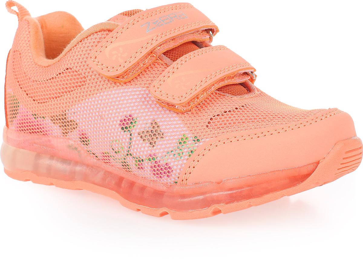 Кроссовки для девочки Зебра, цвет: оранжевый. 11604-18. Размер 3211604-18Стильные кроссовки от Зебра выполнены из комбинации текстиля и искусственной кожи. Ремешки на липучках надежно закрепят изделие на ноге. Стелька из натуральной кожи способствует правильному формированию скелета и анатомических сводов детской стопы. Подошва имеет высокую естественную способность к сцеплению с любой поверхностью за счет особой формы и рельефа.