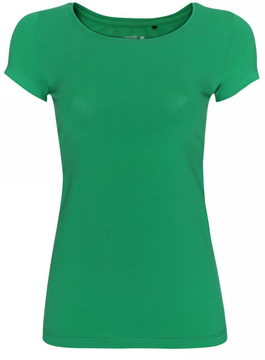 Футболка женская oodji Ultra, цвет: ярко-зеленый. 14701005-7B/46147/6A00N. Размер S (44)14701005-7B/46147/6A00NСтильная женская футболка oodji Ultra, выполненная из хлопка с небольшим добавлением полиуретана, отлично дополнит ваш гардероб. Модель с круглым вырезом горловины и короткими рукавами.
