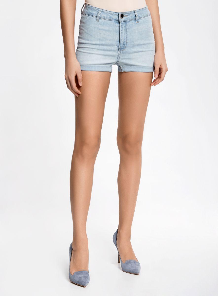 Шорты женские oodji Ultra, цвет: голубой джинс. 12807076-1B/45877/7000W. Размер 26 (42)12807076-1B/45877/7000WШорты джинсовые базовые с высокой посадкой