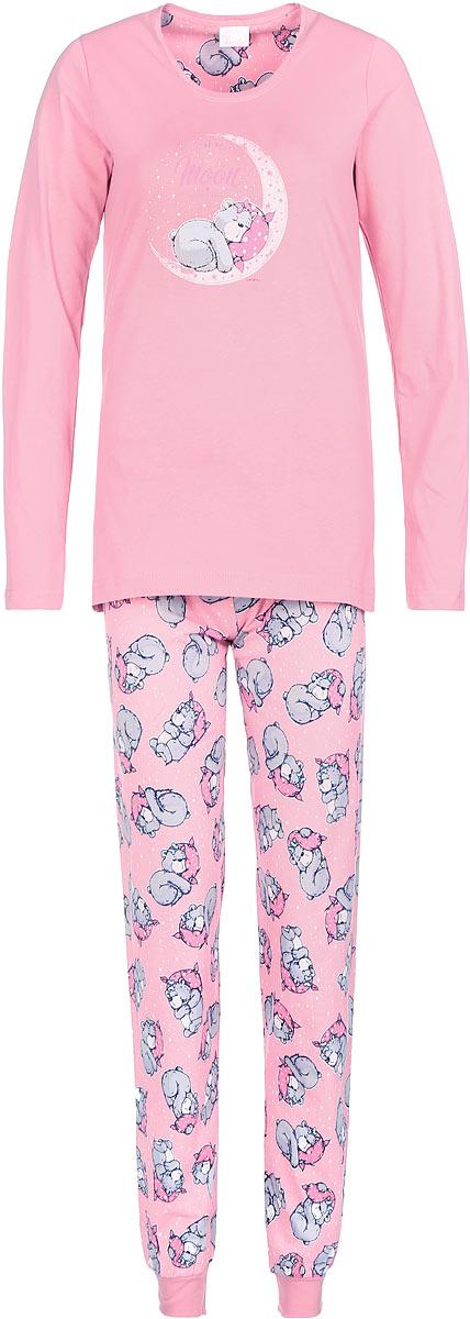 Пижама женская Vienettas Secret, цвет: розовый, светло-серый. 605140 6055. Размер M (46)605140 6055Пижама женская Vienettas Secret исполнена из 100% хлопка. Лонгслив оформлен принтом с мишкой на луне. Брюки принтованы маленькими мишками и имеют завязки на талии, а так же текстильные резинки на щиколотках.