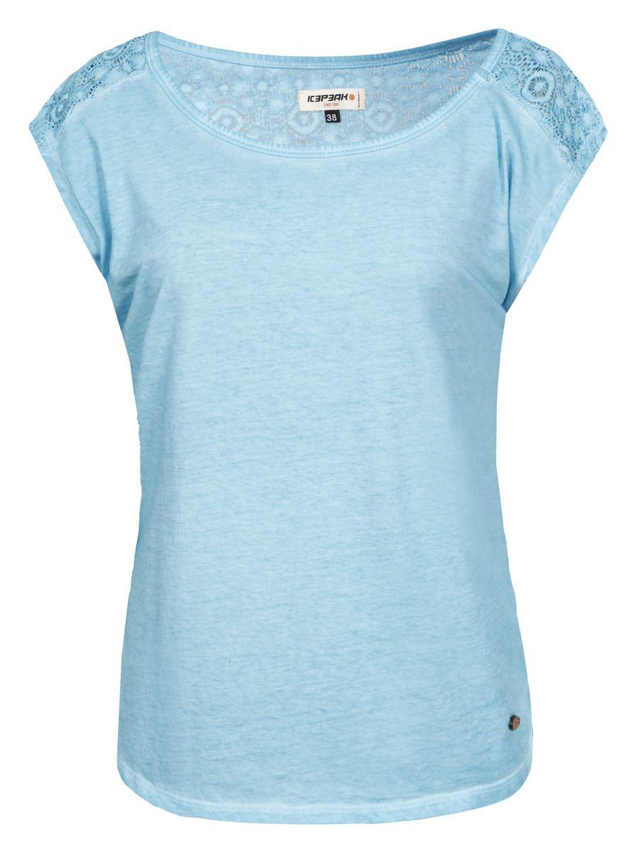 Футболка женская Icepeak, цвет: голубой. 754780465IV. Размер 34 (40)754780465IVЖенская футболка Icepeak изготовлена из натурального хлопка. У модели укороченные рукава и круглая горловина. Футболка дополнена кружевом на плечах и на спинке.
