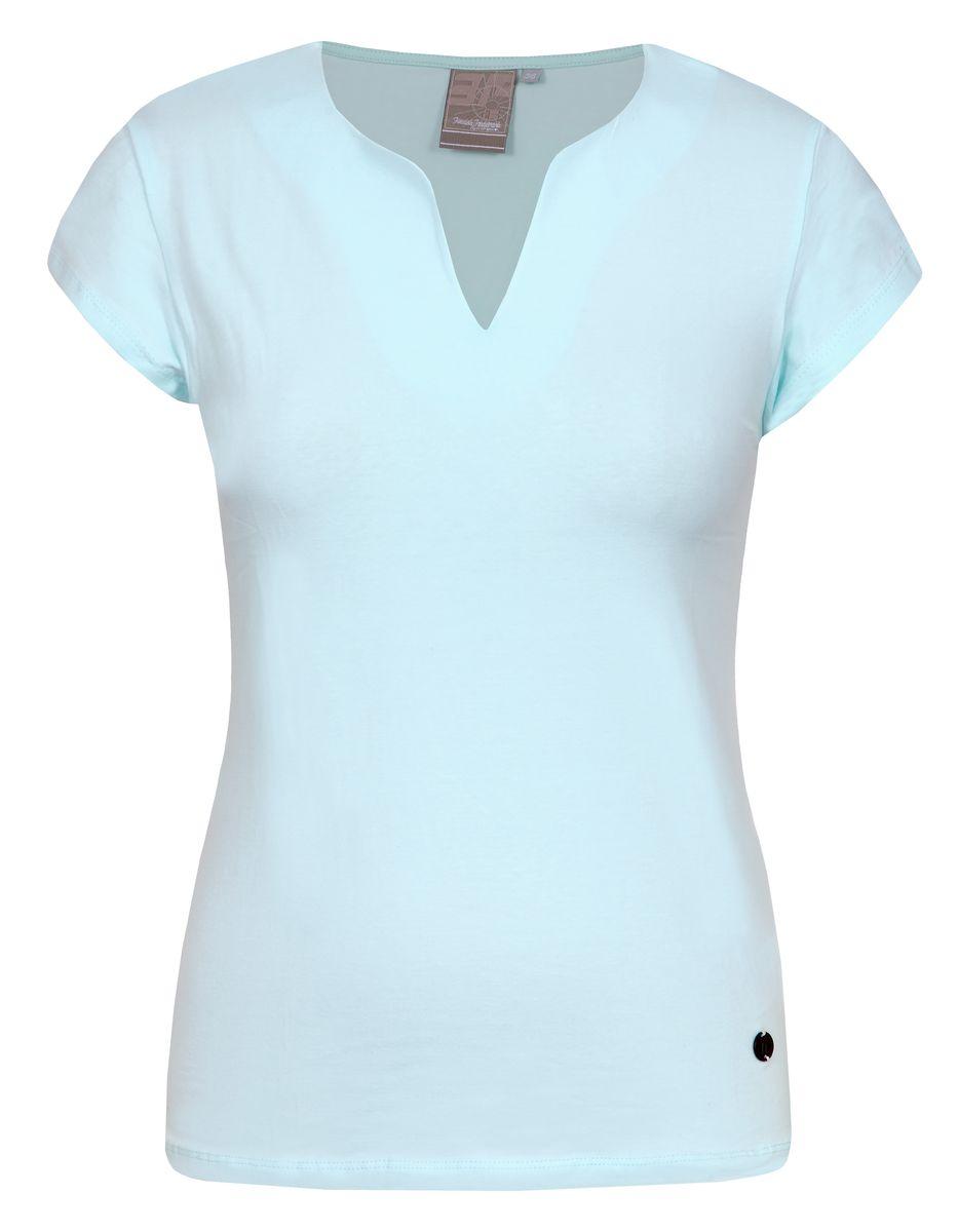 Футболка женская Icepeak, цвет: бирюзовый. 754723591IV. Размер 34 (40)754723591IVСтильная футболка Icepeak изготовлена из натурального хлопка с добавлением эластана. Модель прямого кроя выполнена с V-образной горловиной и короткими рукавами.