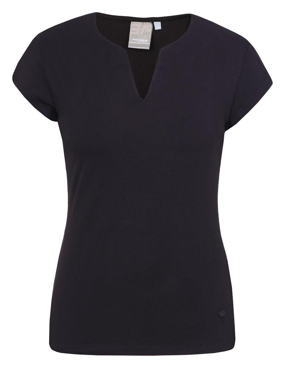 Футболка женская Icepeak, цвет: черный. 754723591IV. Размер 40 (46)754723591IVСтильная футболка Icepeak изготовлена из натурального хлопка с добавлением эластана. Модель прямого кроя выполнена с V-образной горловиной и короткими рукавами.