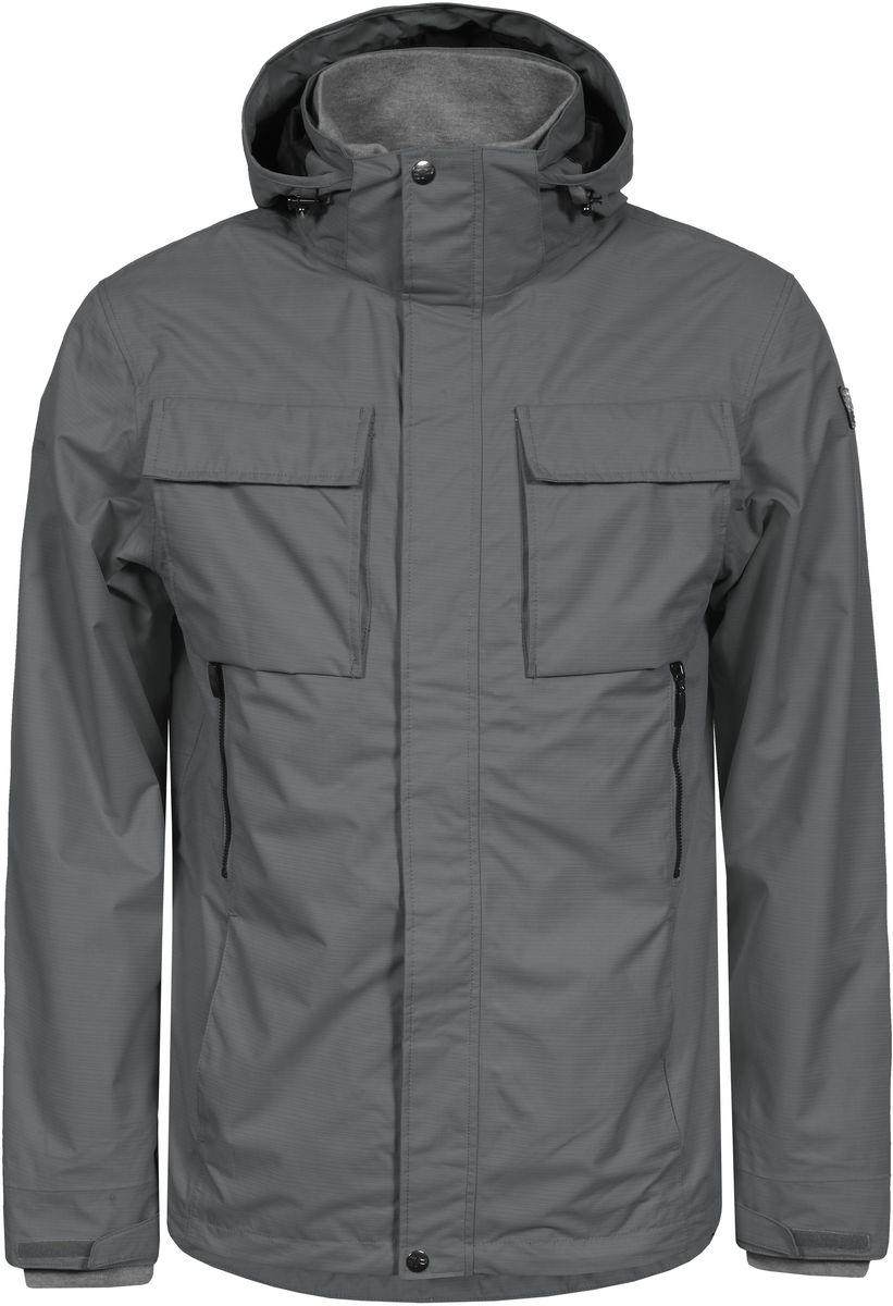 Куртка мужская Icepeak, цвет: серый. 756013520IV_575. Размер XS (46)756013520IV_575Мужская куртка с подкладкой Icepeak выполнена из качественного полиэстера. Модель с длинными рукавами застегивается на застежку-молнию и планку с кнопками. Изделие дополнено капюшоном и шестью внешними карманами. Манжеты рукавов и внутренняя часть воротника-стойки оформлены эластичными трикотажными вставками.