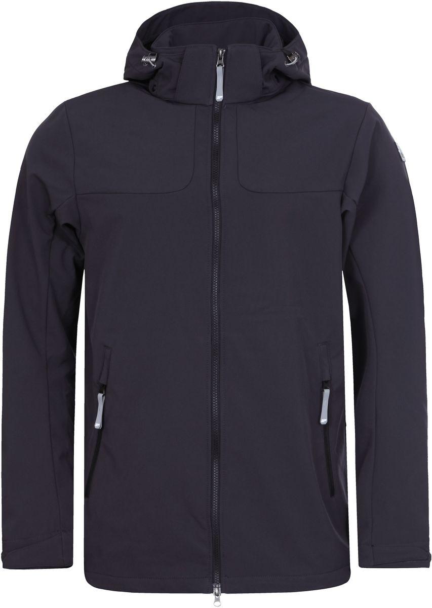 Куртка мужская Icepeak Leo, цвет: темно-серый. 757850682IVT_290. Размер S (48)757850682IVT_290Куртка мужская Leo от Icepeak на микрофлисе выполнена из многофункциональной, эластичной, легкой, дышащей, водо- и ветронепроницаемой ткани с мембраной 3000мм/3000г/м2/24ч. Модель имеет регулирующийся капюшон, застежку на молнии, регулирующиеся манжеты и два боковых кармана на молнии.