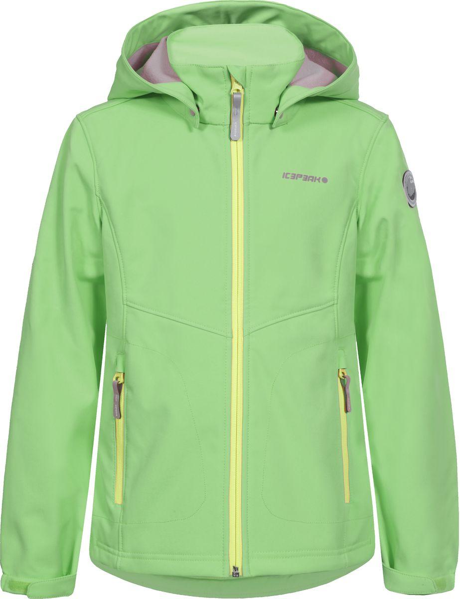 Куртка751808682IVT_665Куртка для девочки Icepeak выполнена из качественного полиэстера. Модель со съемным капюшоном и длинными рукавами застегивается на молнию. Изделие дополнено двумя врезными карманами на молниях.