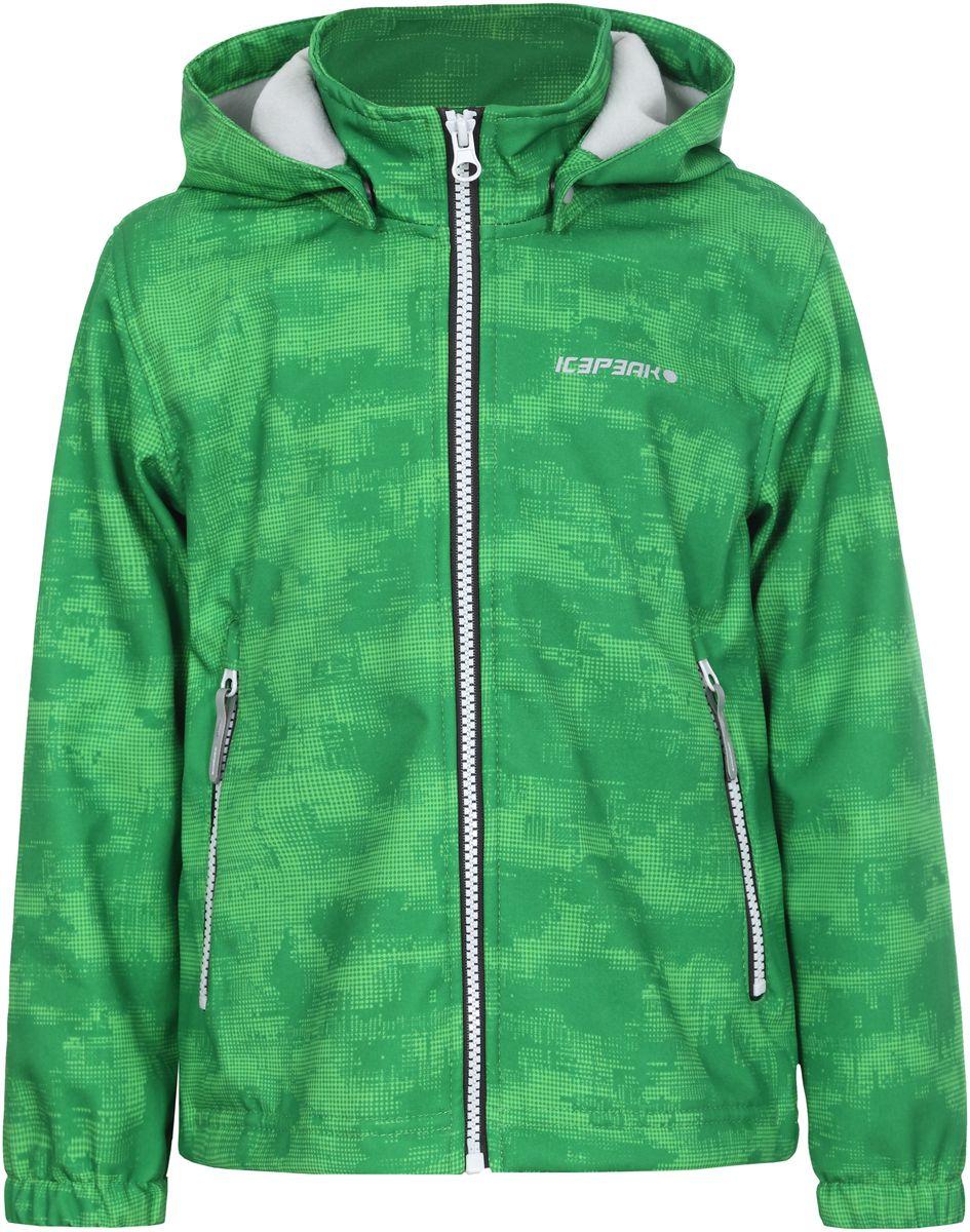 Куртка для мальчика Icepeak, цвет: зеленый. 751816656IVT_545. Размер 98751816656IVT_545Куртка для мальчика Icepeak выполнена из качественного полиэстера. Модель со съемным капюшоном и длинными рукавами застегивается на молнию. Изделие дополнено двумя врезными карманами на молниях.