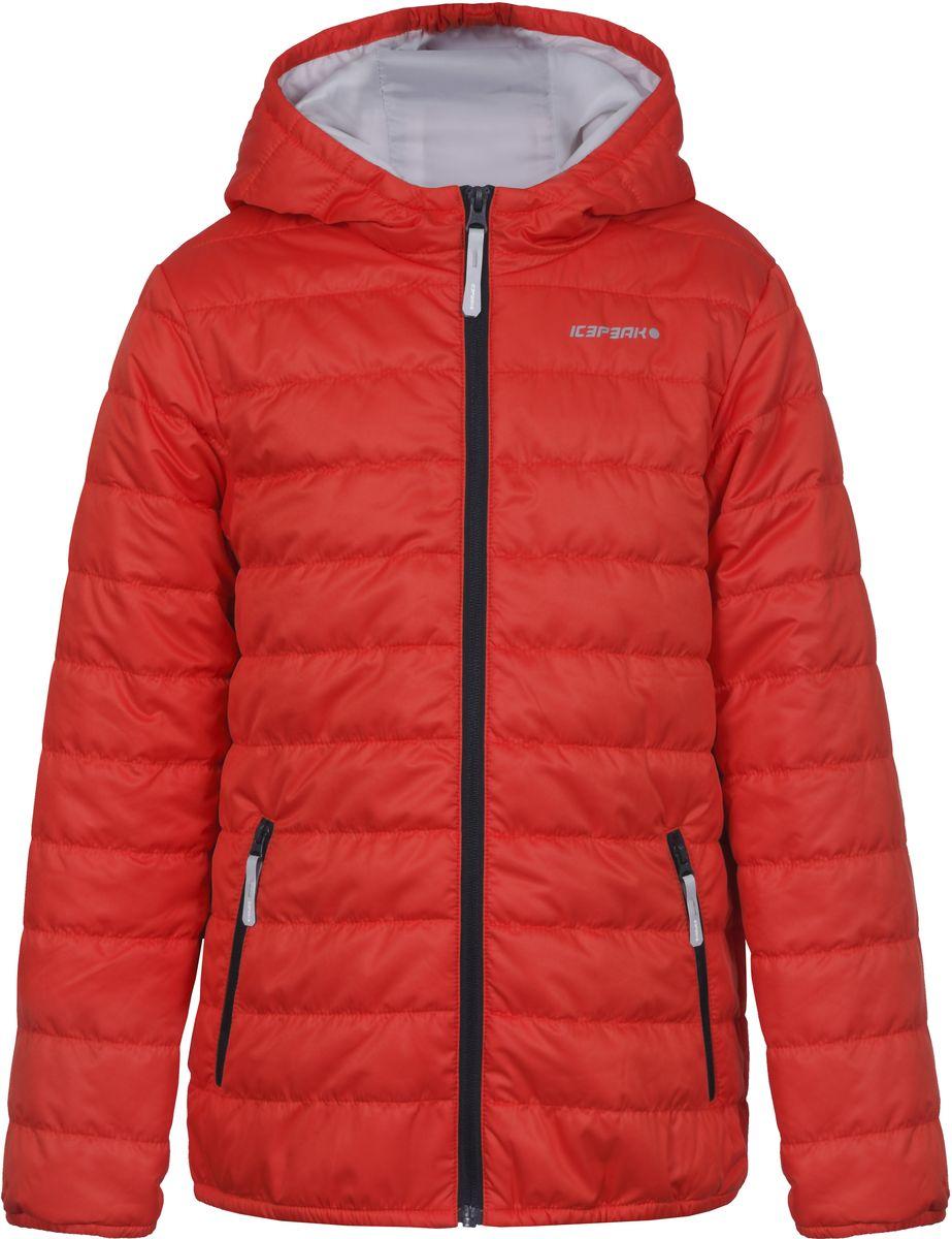Куртка для мальчика Icepeak, цвет: оранжевый. 750018504IV_640. Размер 164750018504IV_640Куртка для мальчика Icepeak выполнена из качественного материала. Модель с капюшоном и длинными рукавами застегивается на застежку-молнию. Изделие дополнено двумя врезными карманами на молниях.