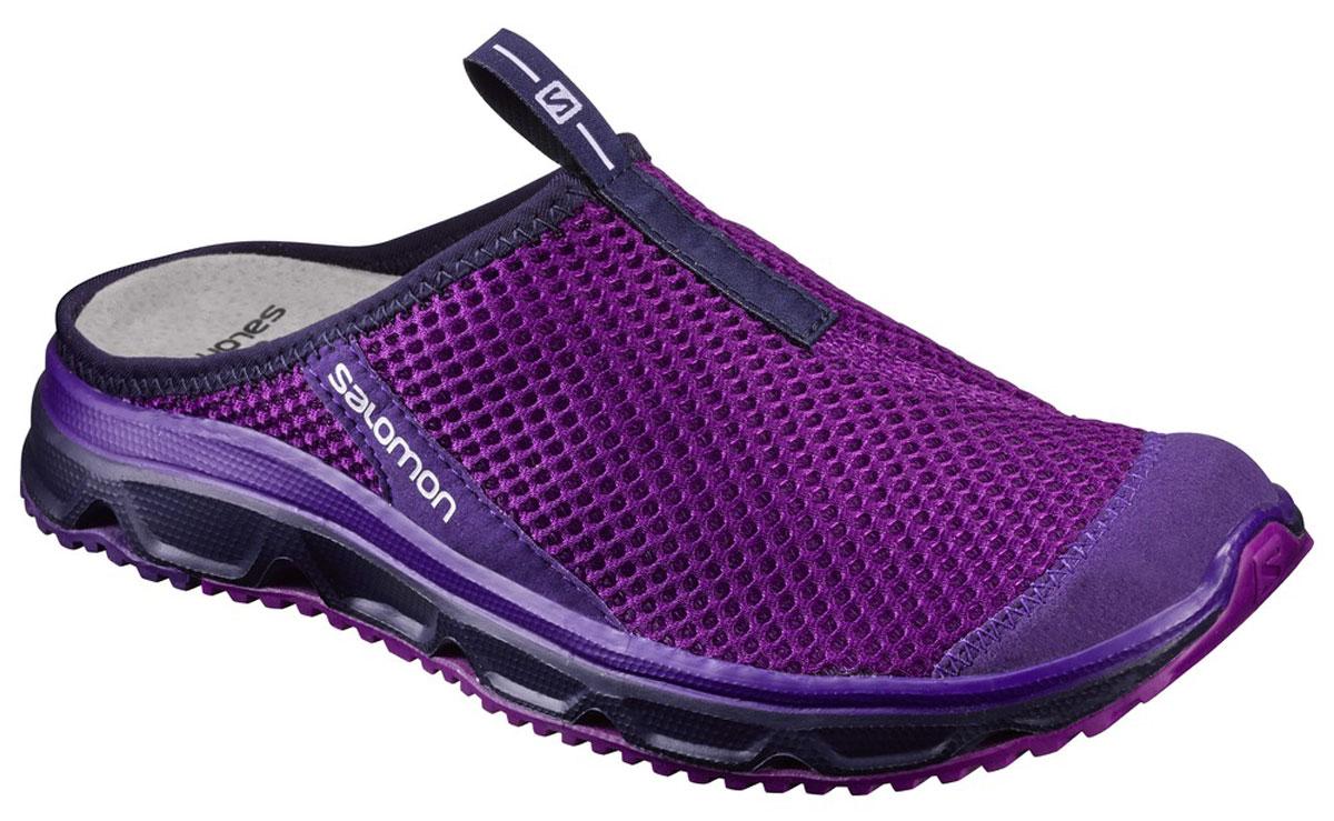 Сабо женские Salomon Rx Slide 3.0 W, цвет: фиолетовый. L39244900. Размер 5 (36,5)L39244900Сабо Rx Slide 3.0 от Salomon выполнены из сетчатого текстиля. Износостойкая подошва с применением технологии Contagrip® обеспечивает максимальное сцепление со скользкой поверхностью благодаря особому составу и геометрии протектора. У модели усиленный мыс, спереди петля, кожаная стелька.