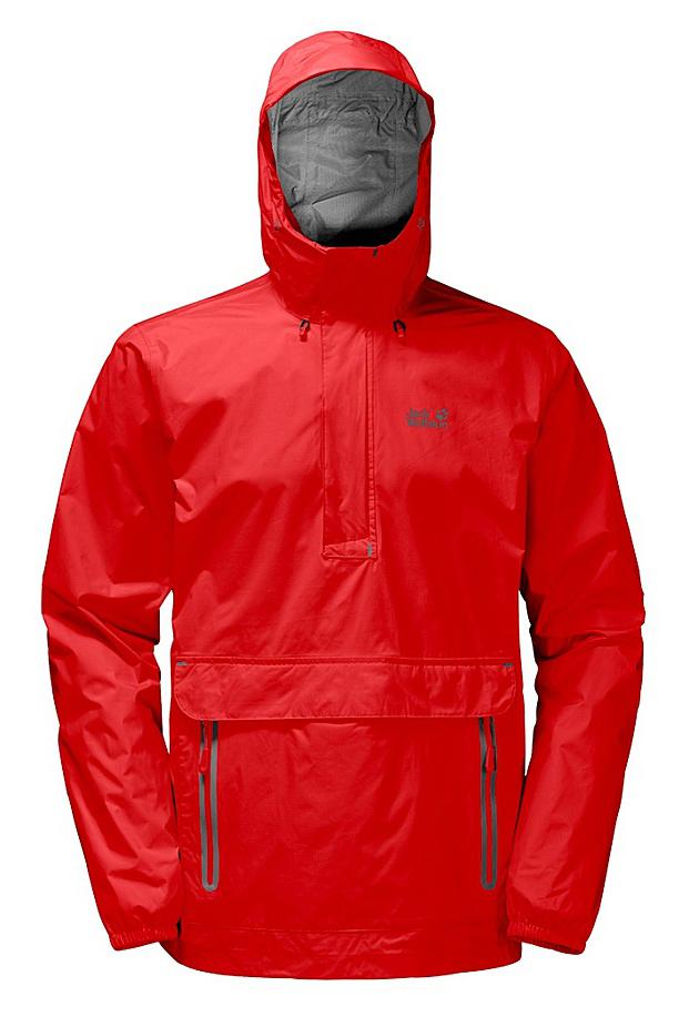 Куртка мужская Jack Wolfskin Cloudburst Smock M, цвет: красный. 1109181-2681. Размер S (42)1109181-2681Куртка-анорак Cloudburst Smock изготовлена из 100% полиамида. Ткань легкая, дышащая, водонепроницаемая и непродуваемая. Модель имеет длинные стандартные рукава с манжетами на резинке, капюшон с регулировкой объема и воротник на молнии. Спереди расположен большой карман с клапаном, в котором удобно хранить карты, GPS и другие необходимые в походе вещи, а также два кармана на молнии. Такая куртка идеальна для небольших походов в лесу или в горах. Если вдруг вас застанет дождь, то не переживайте - куртка не даст вам промокнуть, и вы с комфортом доберетесь до места назначения. Модель компактно складывается и не занимает много места в рюкзаке.