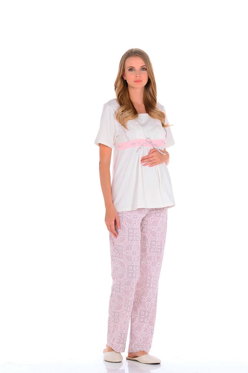Пижама для беременных и кормящих Nuova Vita Pretty Mama, цвет: молочный, розовый. 507.01. Размер 50507.01Нежнейшая пижама для беременных и кормящих мамочек,приятного спокойного цвета. Модель свободного кроя и коротким рукавом, по передней части отрезная кокетка со шнуровкой, расположенная по линии груди. Под грудью небольшая сборка из складок, для более удобного комфорта для растущего животика. Кокетка имеет секрет для кормления малыша (передняя планка на небольших пуговицах, отстегивающихся с двух сторон, что значительно облегчает грудное вскармливание). Свободные штанишки на животик с регулируемой мягкой резинкой на пуговицах, позволяет будущей мамочке самой регулировать пояс на штанишках. Они очень удобны в носке, на протяжении всего периода, а также после родов. Пижама отлично сидит по фигуре, подойдет, как для ношения дома, так, и для роддома.