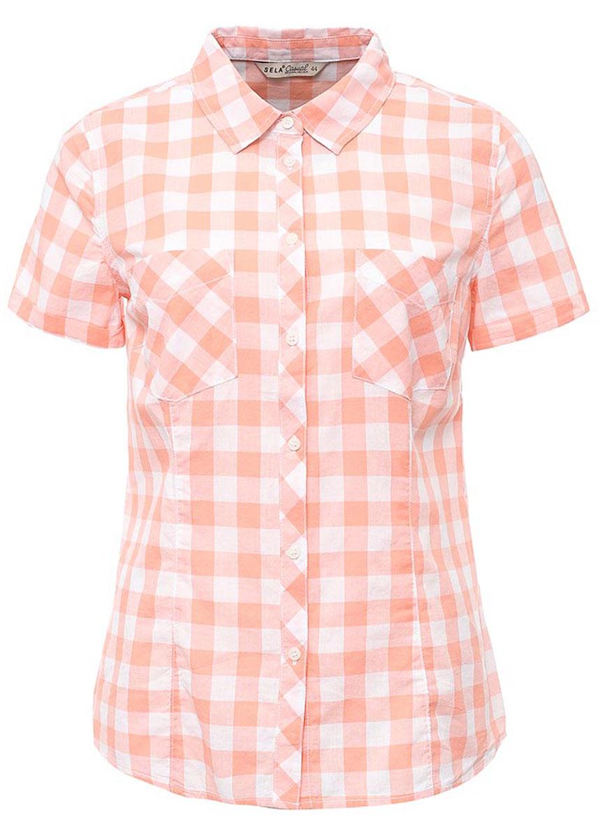 РубашкаBs-112/133-7263Женская рубашка Sela выполнена из натурального хлопка и оформлена принтом в крупную клетку. Модель прямого кроя с отложным воротничком и короткими рукавами застегивается на пуговицы и дополнена двумя накладными карманами. Рубашка подойдет для офиса, прогулок и дружеских встреч и будет отлично сочетаться с джинсами и брюками, и гармонично смотреться с юбками. Мягкая ткань комфортна и приятна на ощупь.