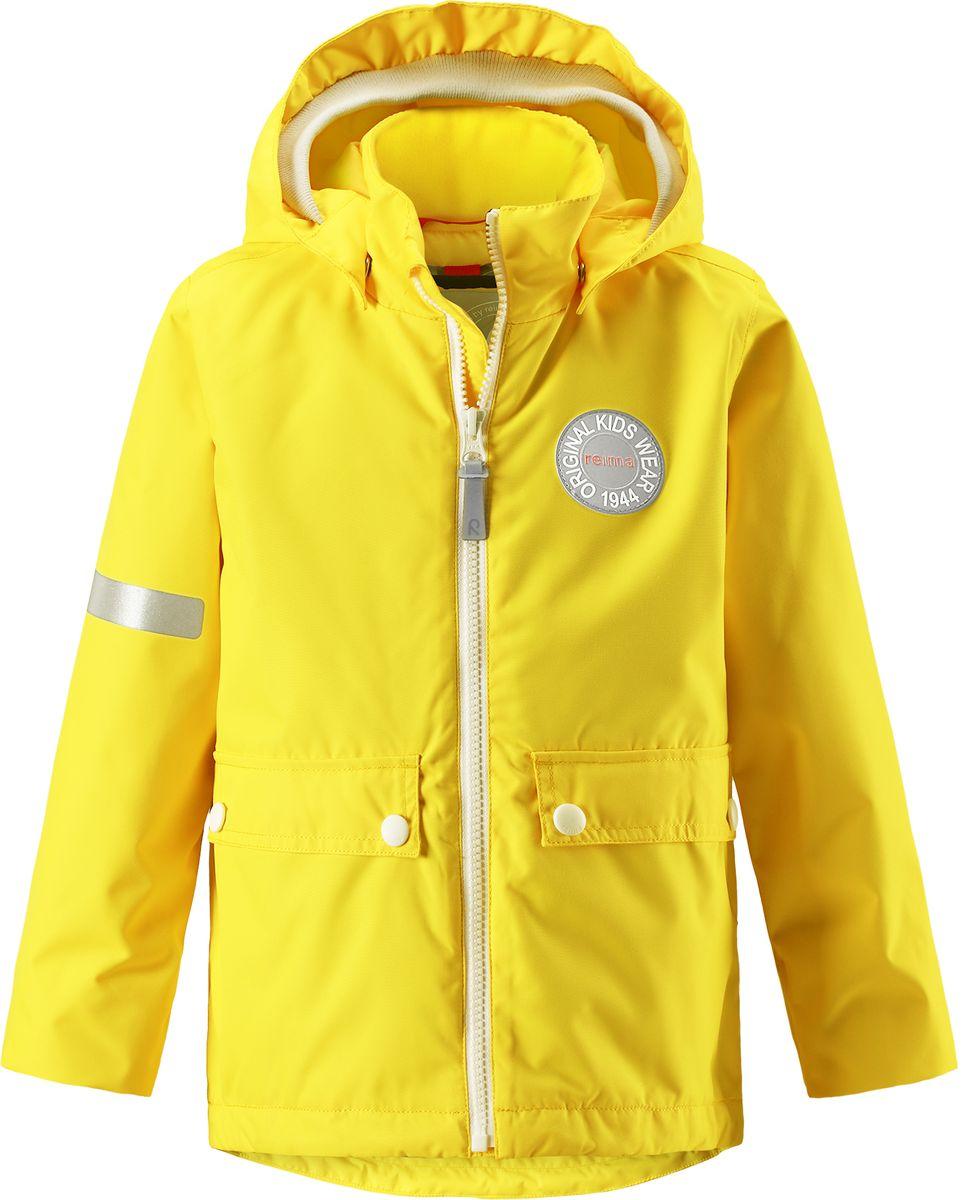 Куртка детская Reima Taag, цвет: желтый. 5214812350. Размер 1225214812350В детской демисезонной куртке от Reima дождь не страшен: все основные швы проклеены, водонепроницаемы. Благодаря съемной стеганой жилетке эта куртка идеально подойдет для ранних весенних дней, ведь на улице все еще может быть холодно. А когда потеплеет, она легко превращается в облегченную модель. Большие карманы с клапанами и светоотражающие детали выполнены в ретро-стиле 70-х.