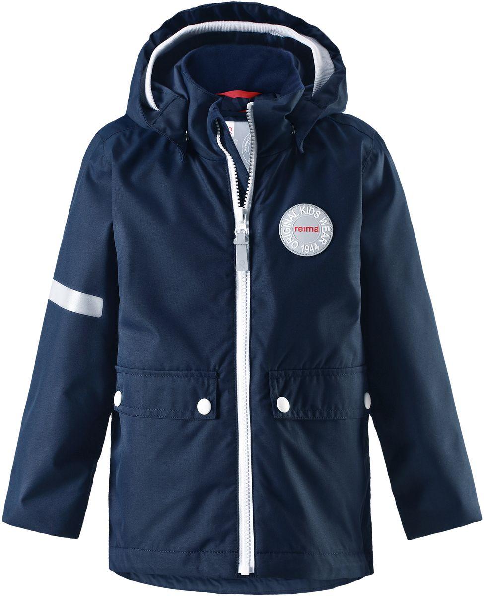 Куртка детская Reima Taag, цвет: синий. 5214816980. Размер 1225214816980В детской демисезонной куртке от Reima дождь не страшен: все основные швы проклеены, водонепроницаемы. Благодаря съемной стеганой жилетке эта куртка идеально подойдет для ранних весенних дней, ведь на улице все еще может быть холодно. А когда потеплеет, она легко превращается в облегченную модель. Большие карманы с клапанами и светоотражающие детали выполнены в ретро-стиле 70-х.