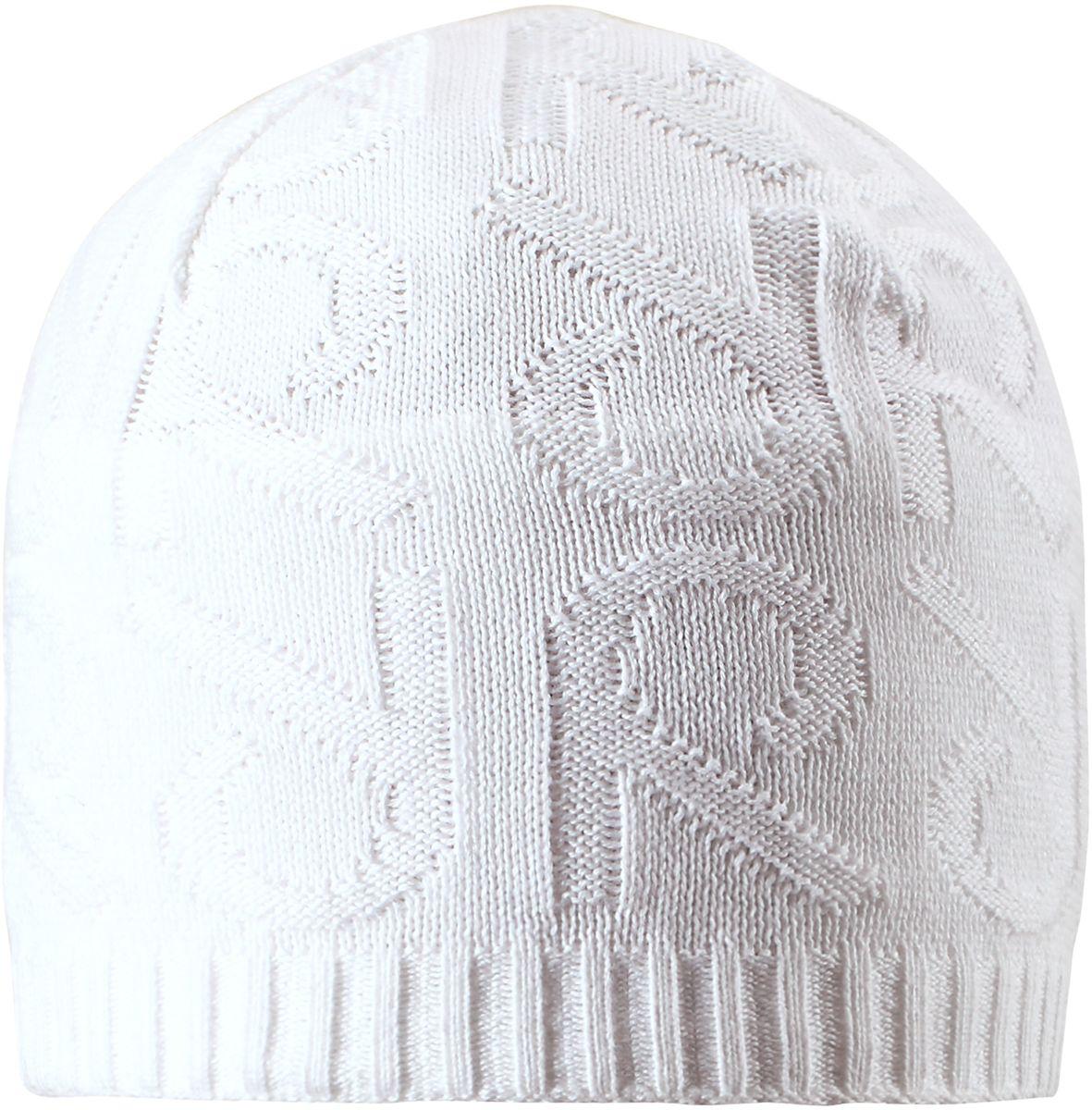 Шапка детская Reima Ankkuri, цвет: белый. 5285110100. Размер 565285110100Стильная вязаная шапочка для малышей подходит на все случаи жизни. Благодаря модному рисунку она отлично сочетается с разными вариантами одежды. Полуподкладка из хлопчатобумажного трикотажа гарантирует тепло, а ветронепроницаемые вставки между верхним слоем и подкладкой, защищают уши. Светоотражающие детали помогут лучше разглядеть ребенка в темное время суток.