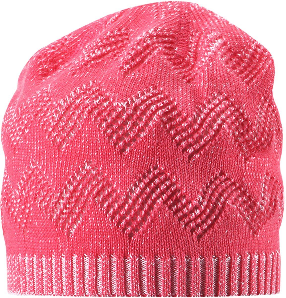 Шапка для девочки Reima Piranja, цвет: розовый. 5285283360. Размер 565285283360Детская шапка станет превосходным выбором в межсезонье, в ней можно и поиграть во дворе, и прогуляться по городу. Изготовлена из мягкого и комфортного вязаного хлопка. Эта симпатичная облегченная модель без подкладки идеально подходит для солнечной погоды.