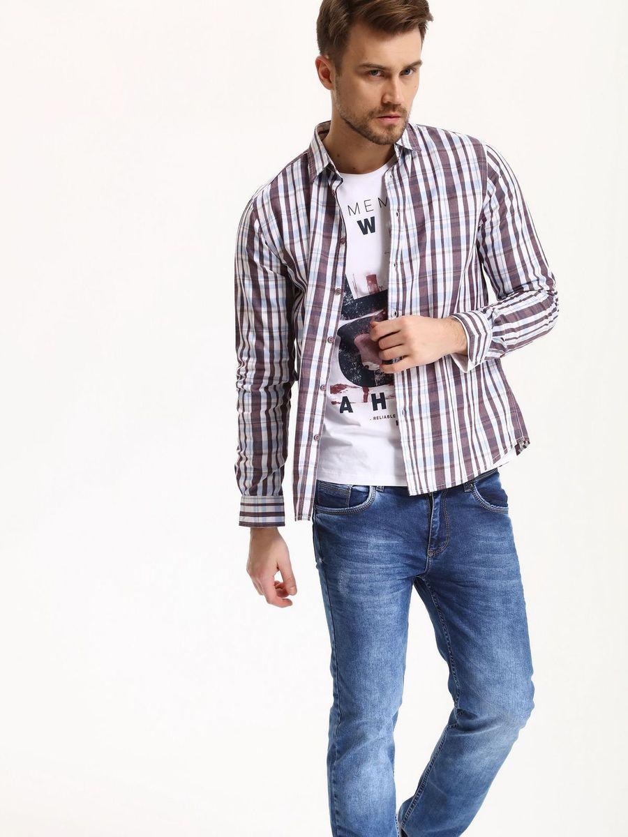 РубашкаSKL2285CEРубашка мужская Top Secret выполнена из 100% хлопка. Модель с отложным воротником и длинными рукавами застегивается на пуговицы.