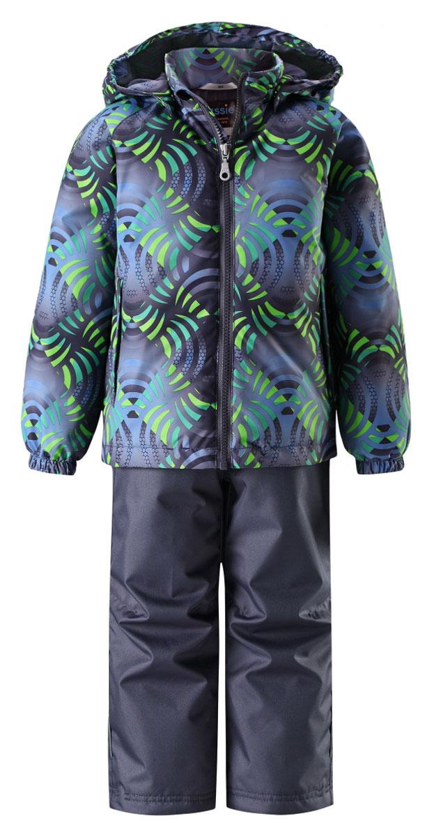 Комплект одежды детский Lassie: куртка, брюки, цвет: зеленый, темно-синий. 723703R8812. Размер 92723703R8812Прочный детский демисезонный комплект на легком утеплителе, состоящий из куртки и брюк, станет идеальным выбором для игр на свежем воздухе. Водоотталкивающий и ветронепроницаемый материал хорошо пропускает воздух, так что в этой куртке не вспотеешь. Куртка снабжена безопасным съемным капюшоном и прочными усилениями на спинке. Эластичный регулируемый подол позволяет подогнать куртку идеально по фигуре. Гладкая подкладка из полиэстера хорошо пропускает воздух и облегчает одевание. В куртке предусмотрены прорезные карманы, а в брюках один карман. Брюки снабжены регулируемыми манжетами и съемными эластичными подтяжками, поэтому отлично сидят. Светоотражающие детали позволят лучше разглядеть маленьких любителей приключений, играющих на свежем воздухе в темное время суток.