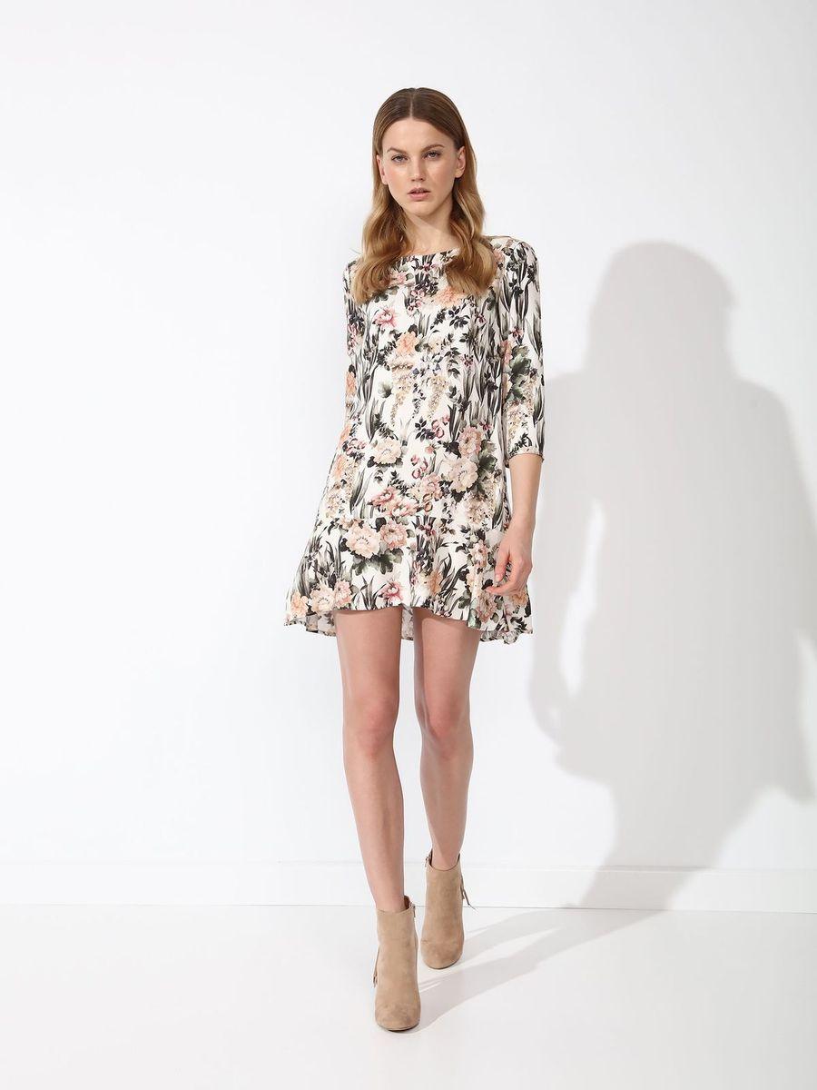 ПлатьеSSU1844BIПлатье Top Secret выполнено из вискозы. Модель с круглым вырезом горловины и рукавами 3\4. Оформлено изделие цветочным принтом.