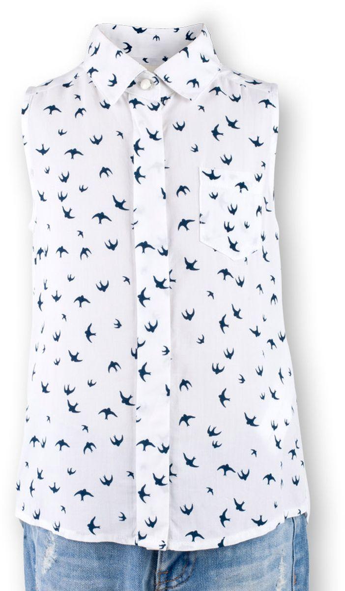 Блузка для девочки Button Blue Main, цвет: белый. 117BBGC22010207. Размер 116, 6 лет117BBGC22010207В новом весенне-летнем сезоне блузка без рукавов - базовая составляющая модногогардероба. Именно поэтому детская блузка без рукавов - хит летней коллекции от Button Blue. Простая, удобная и очень элегантная модель в компании с шортами, брюками, юбкой сделает повседневный образ ребенка модным и современным.