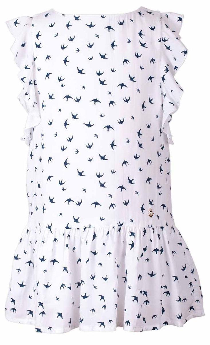 Платье117BBGC25030207Прекрасный летний вариант - текстильное платье с рисунком на тонкой хлопковой подкладке. Модный силуэт, комфортная форма, выразительные детали делают платье для девочки отличным решением для каждого дня лета. Если вы хотите приобрести одновременно и красивую, и практичную, и удобную вещь, вам стоит купить детское платье от Button Blue.