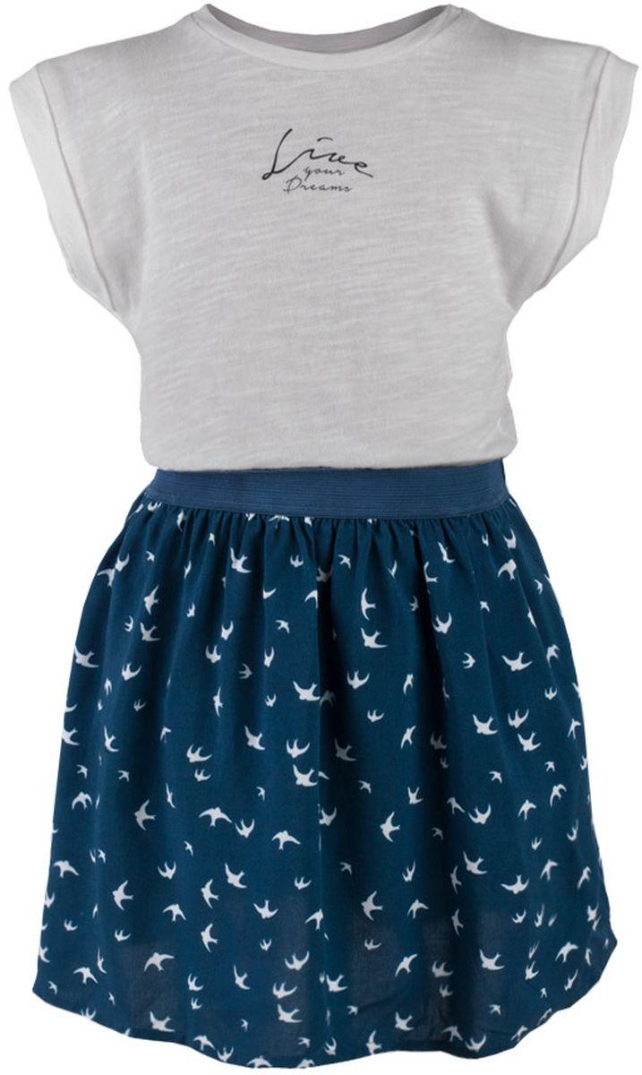 Платье для девочки Button Blue Main, цвет: серый, темно-бирюзовый. 117BBGC25011007. Размер 104, 4 года117BBGC25011007Прекрасный летний вариант - комбинированное детское платье из однотонного трикотажа и текстиля в мелкий рисунок. Модный силуэт, комфортная форма делают платье для девочки отличным решением для каждого дня лета. Если вы хотите приобрести одновременно и красивую, и практичную, и удобную вещь, вам стоит купить детское платье от Button Blue.