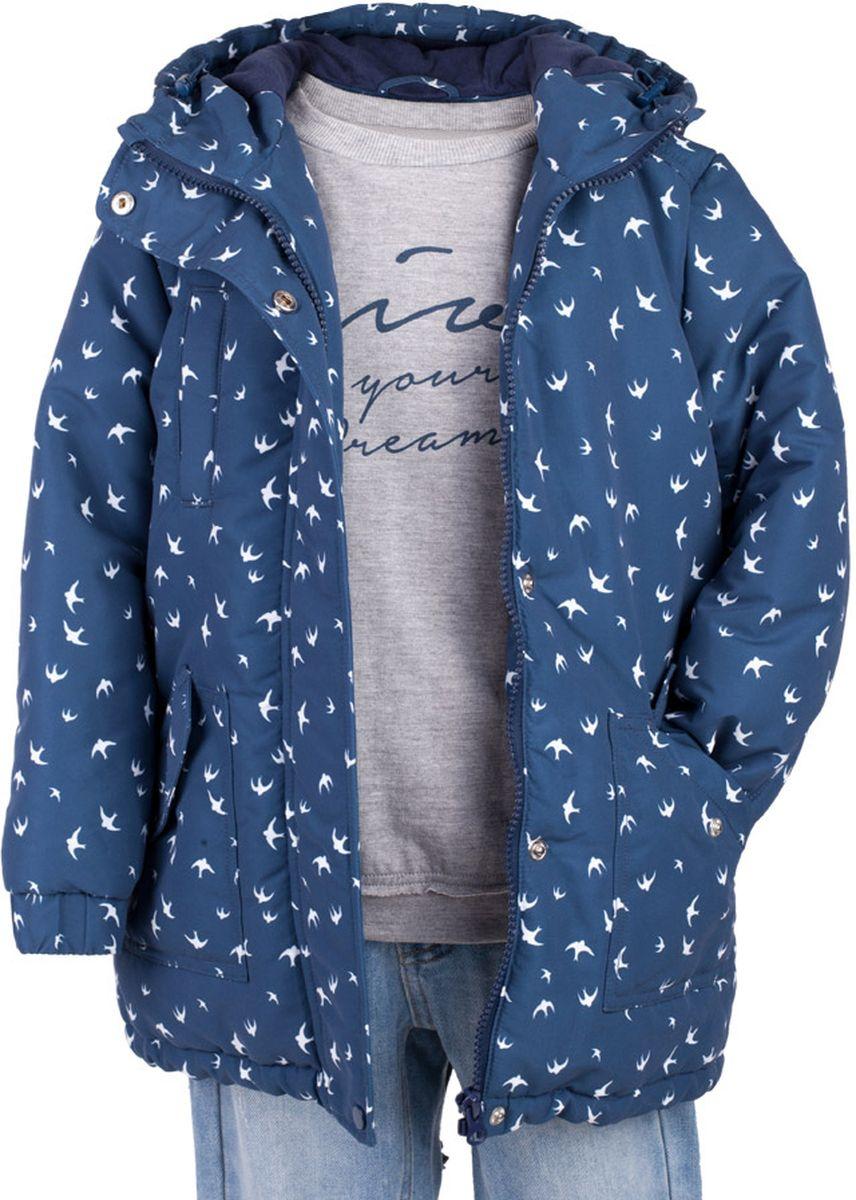 Куртка для девочки Button Blue Main, цвет: синий. 117BBGC46011007. Размер 158, 13 лет117BBGC46011007Куртка - важнейший атрибут весеннего практичного гардероба ребенка. Водоотталкивающая плащевая ткань создаст отличное настроение, мягкая трикотажная подкладка подарит уют. Если вы хотите купить удлиненную куртку для девочки недорого, не сомневаясь в ее комфорте, качестве, высоких потребительских свойствах и прекрасном внешнем виде, то модель от Button Blue - то, что нужно!
