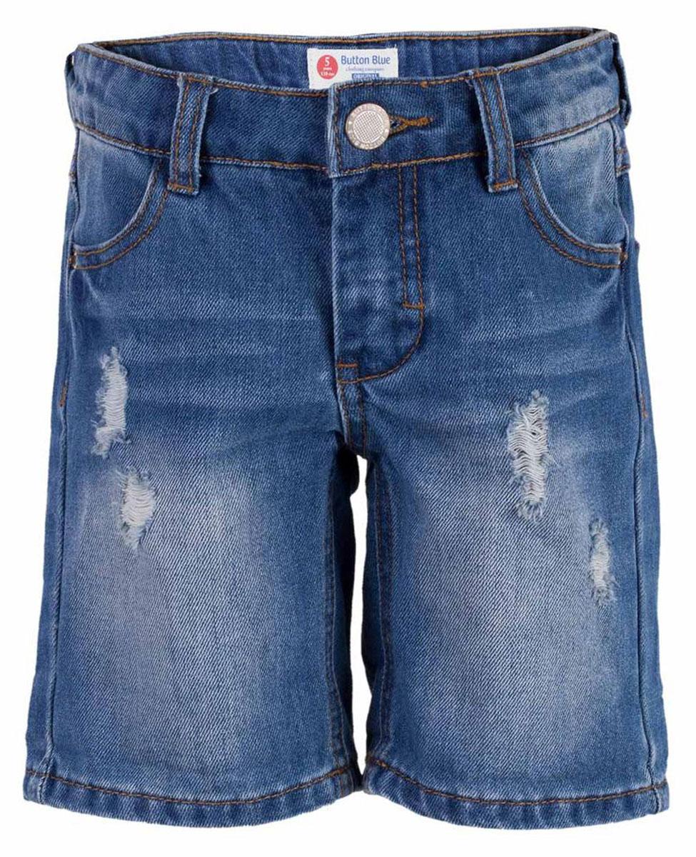 Шорты для мальчика Button Blue Main, цвет: голубой. 117BBBC6003D200. Размер 140, 10 лет117BBBC6003D200Классные джинсовые шорты с потертостями, варкой и повреждениями - прекрасное решение на каждый день. И дома, и в лагере, и на спортивной площадке эти шорты для мальчика обеспечат комфорт и соответствие модным трендам. Купить недорого детские шорты от Button Blue, значит, сделать каждый летний день ребенка радостным и беззаботным!