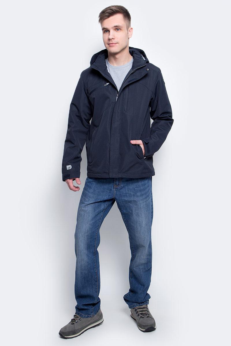 Куртка мужская Icepeak, цвет: темно-синий. 756286886XV_390. Размер XXL (56)756286886XV_390Мужская куртка с подкладкой Icepeak выполнена из качественного полиэстера. Модель с длинными рукавами застегивается на застежку-молнию. Изделие дополнено съемным капюшоном и тремя внешними карманами.