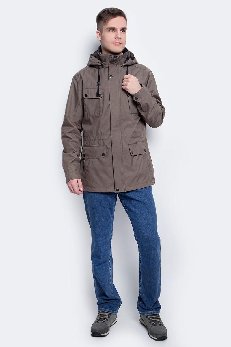 Ветровка мужская Luhta, цвет: коричневый. 737553365LV. Размер 50737553365LVВетровка мужская Luhta выполнена из полиэстера. Модель с капюшоном и длинными рукавами застегивается на молнию и кнопки.