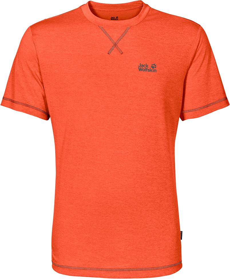 Футболка мужская Jack Wolfskin Crosstrail T M, цвет: оранжевый. 1801671-3727. Размер XXL (54)1801671-3727Футболка мужская Crosstrail T M изготовлена из 100% полиэстера. Ткань приятно охлаждает кожу во время интенсивных нагрузок и предотвращает появление неприятного запаха. Когда вы выкладываетесь на все сто процентов во время тренировок или походов, ваша футболка активна - она быстро отводит влагу наружу и неизменно обеспечивает ощущение сухости при носке. Модель имеет круглый вырез горловины и короткие стандартные рукава. Футболка дополнена логотипом бренда.
