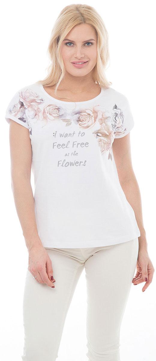 """ФутболкаBGUZ-967-белыйСтильная женская футболка BeGood изготовлена из высококачественного эластичного хлопка приятного на ощупь. Модель свободного кроя с короткими рукавами и округлым вырезом горловины оформлена принтом с изображением роз и надписью: """"I want to feel free as the flowers"""". Такая футболка великолепно дополнит летний гардероб и поможет вам создать романтичный и нежный образ."""
