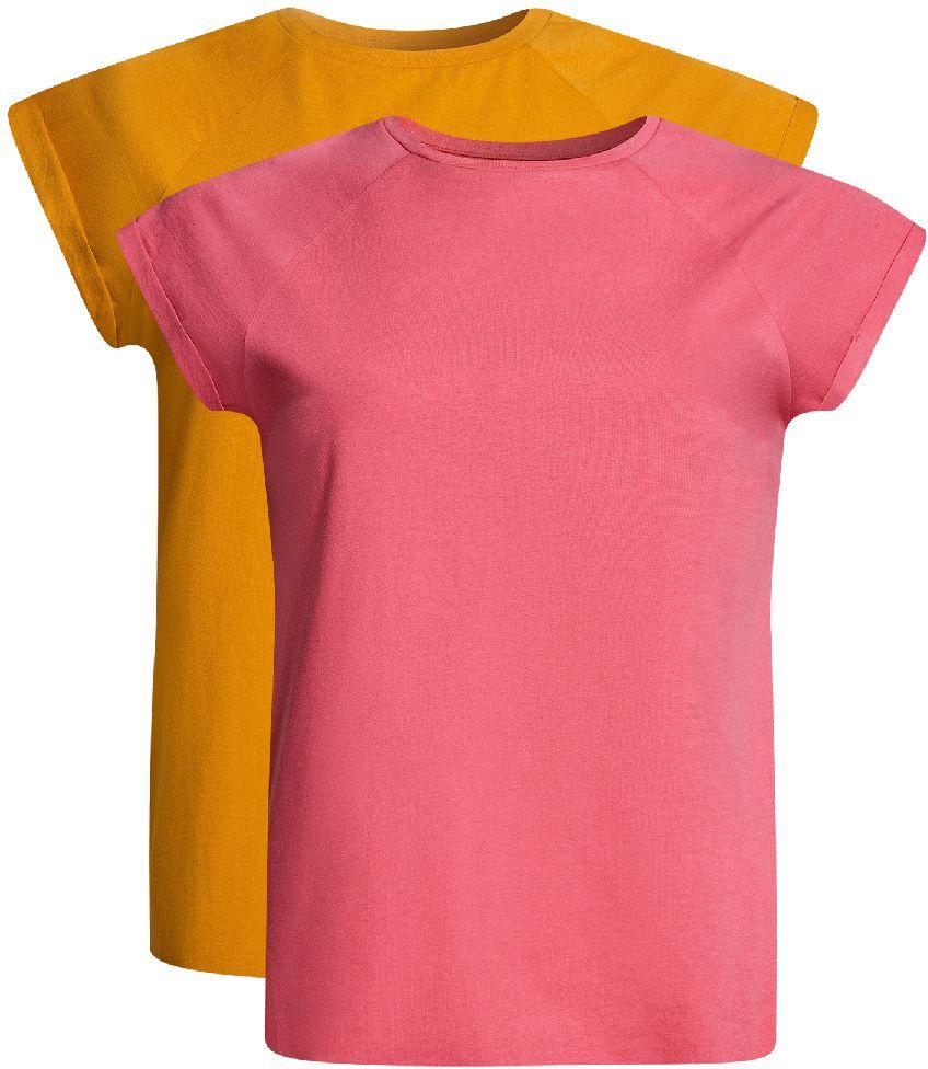 Футболка14707001-4T2/46154/6A47NБазовая футболка свободного кроя с короткими рукавами-реглан и круглым вырезом горловины выполнена из натурального хлопка. В комплект входит две футболки.