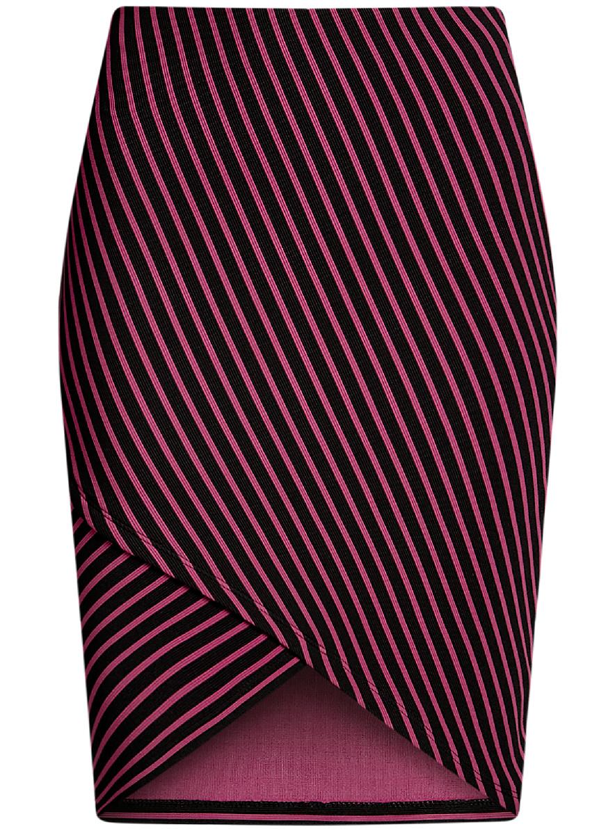 Юбка14101081/45500/2912SМодная юбка с асимметричным низом выполнена из высококачественного трикотажного материала. Модель оформлена принтом в полоску.
