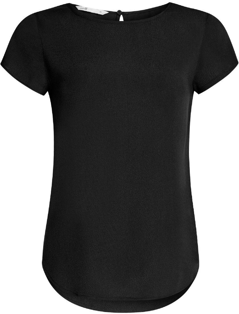 Блузка11411138B/46249/1200NБлузка женская oodji Ultra выполнена из высококачественного материала. Модель свободного силуэта с круглым вырезом горловины и вырезом капелькой на спинке. Блузка застегивается сзади на пуговицу.