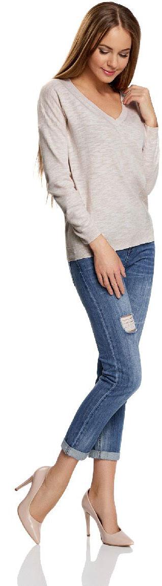 Джемпер63812590-1/46688/3300MУютный женский джемпер с V-образным вырезом горловины и длинными рукавами выполнен из натурального хлопка. Модель на спине оформлена принтом.
