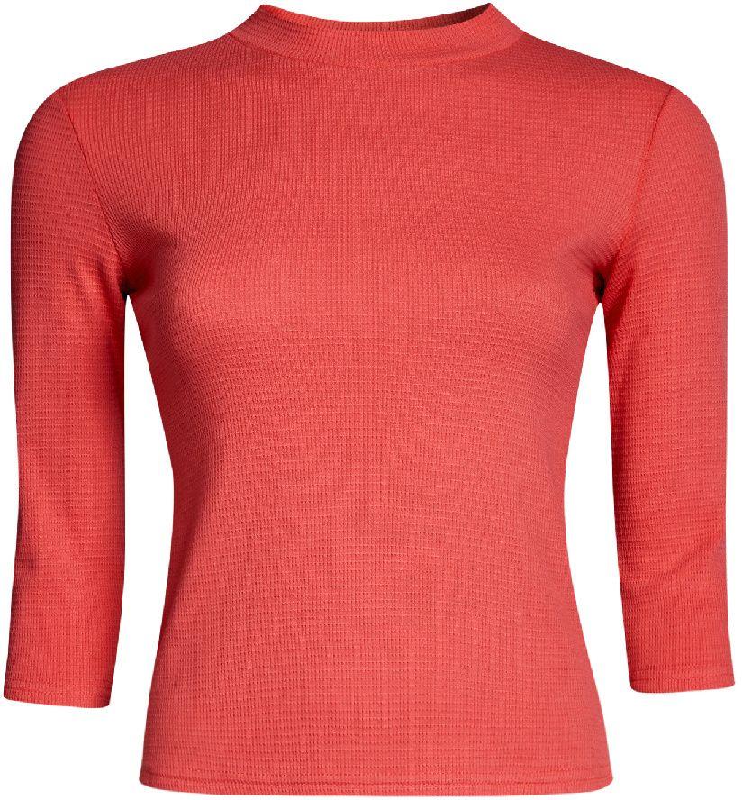 Джемпер женский oodji Ultra, цвет: коралловый. 15E11003/45210/4301N. Размер L (48)15E11003/45210/4301NУютный женский джемпер в рубчик с круглым вырезом горловины и рукавами 3/4 выполнен из эластичного хлопка.