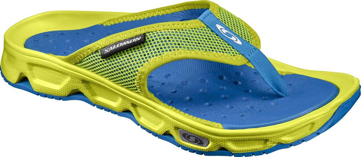 Сланцы370704Легкие мужские сланцы от Salomon RX Break придутся вам по душе. Верх модели изготовлен из синтетического материала и текстиля и дополнен символикой бренда. Отличная перфорация и сетчатый материал обеспечивают вентиляцию ноги. Внутренняя часть изготовлена из EVA материла. EVA - это легкий и прочный материал, обладающий хорошими амортизирующими свойствами и водонепроницаемостью. Светоотражающие элементы предназначены для лучшей видимости в темное время суток. Износостойкая подошва с технологией Contagrip оснащена рифлением для лучшей сцепки с поверхностью. Такие сланцы помогут ногам восстановиться сразу после окончания пробежки и вплоть до того момента, когда вы сможете растянуться в своем гамаке.
