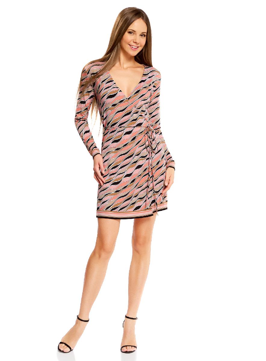 Платье14000167/46384/2943OПлатье с запахом oodji Ultra А, выгодно подчеркивающее достоинства фигуры, выполнено из качественного трикотажа. Модель мини-длины с короткими рукавами завязывается тонким пояском. Запах дополнительно фиксируется скрытыми пуговицами.