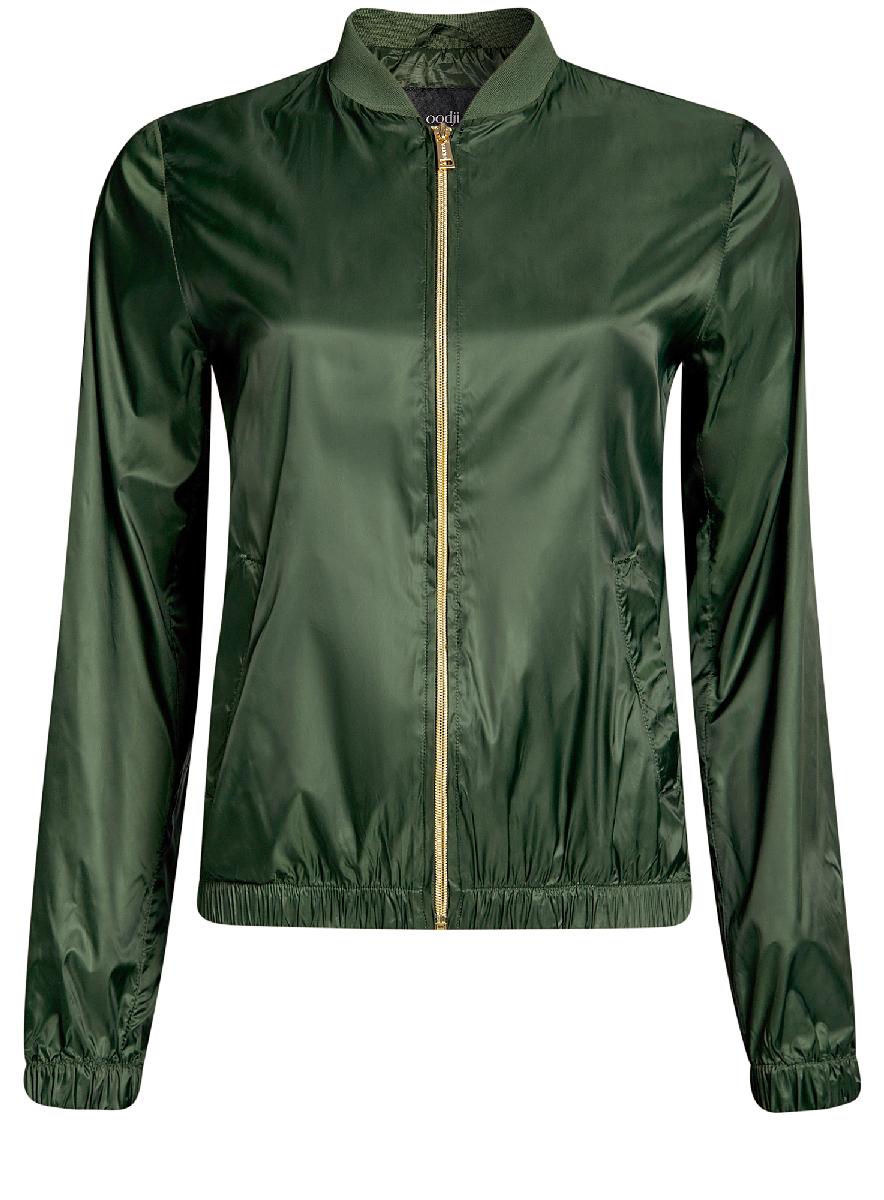 Куртка женская oodji Ultra, цвет: темно-зеленый. 10303056/46708/6900N. Размер 42-170 (48-170)10303056/46708/6900NЖенская легкая куртка-бомбер oodji Ultra выполнена из высококачественного материала. Модель с трикотажным воротником застегивается на застежку-молнию. Низ куртки и манжеты дополнены эластичными вставками. Спереди расположено два втачных кармана.